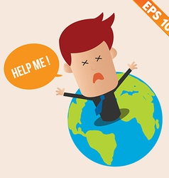 Cartoon businessman ask for help - - eps10 vector