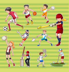 Sticker set with people playing different types vector