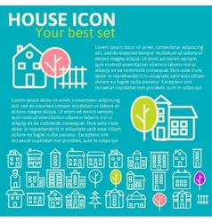 Linear set of house icons vector