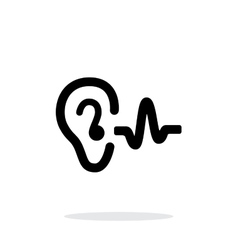 Ear hearing sound icon on white background vector