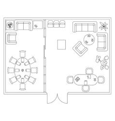 Architectural set of furniture design elements vector