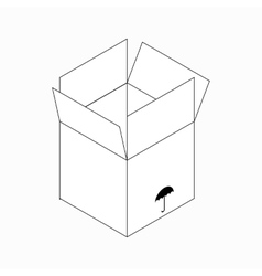 Keep dry packaging symbol icon isometric 3d style vector