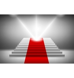3d image of red carpet on white stair vector