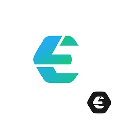 Letter e color tech industry style logo concept vector