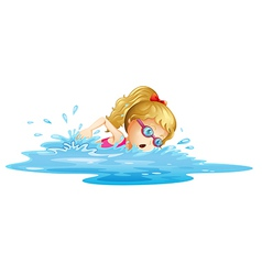 A young girl swimming vector image vector image