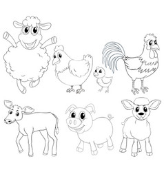 animal outlline for different types of farm vector image vector image