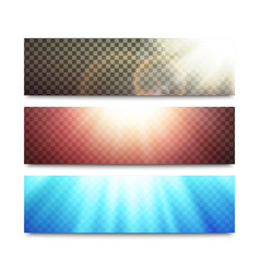 banners set with transparent light effects vector image