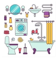Bath equipment icons vector image vector image