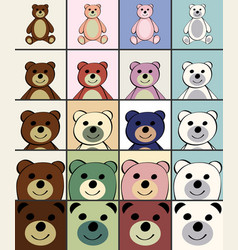 Bears funny cartoon animal toy vector