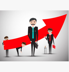 Businessmen with big red arrow businessman vector
