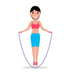 Cartoon girl jumping on a skipping rope vector