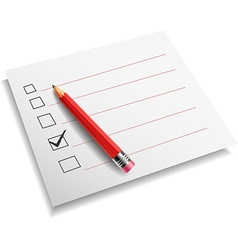 Checklist with pencil white backgroun vector image vector image