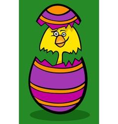 chicken in easter egg cartoon vector image vector image