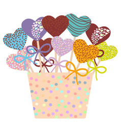 Colorful sweet cake pops hearts set with bow in a vector