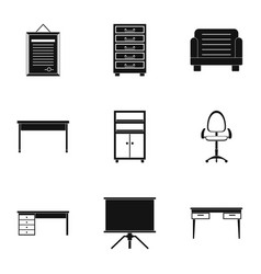 comfort furniture icons set simple style vector image vector image