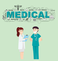 Doctors with medical icons for healthcare vector