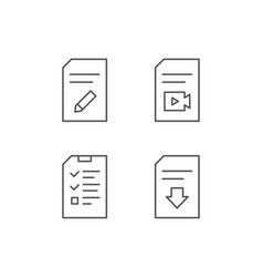 Document checklist and download file line icons vector