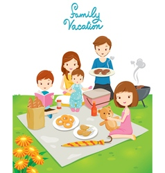 Family picnic in public park vector