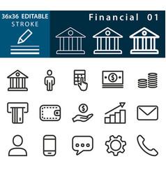 financial - line icon set editable stroke vector image vector image