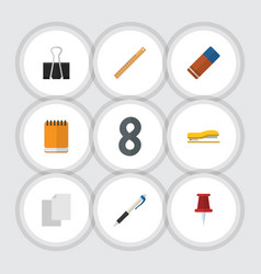 flat icon equipment set of supplies pushpin vector image