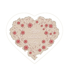 Floral heart with handwritten inscription vector image