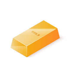 gold bar isolated on white background isometric vector image vector image