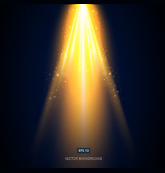 golden light shines from above the stage on a vector image vector image