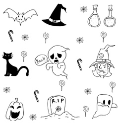 Halloween candy ghost cat in doodle vector