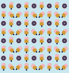 Ice cream seamless pattern with lemon on blue vector