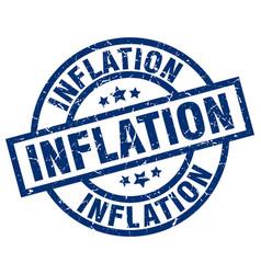 Inflation blue round grunge stamp vector