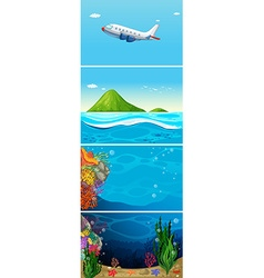 Nature scene of airplane flying over the ocean vector