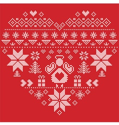 Nordic pattern in hearts shape with an angel red vector