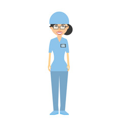 Nurse with suit surgery hat and id card vector