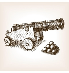Old cannon hand drawn sketch vector image