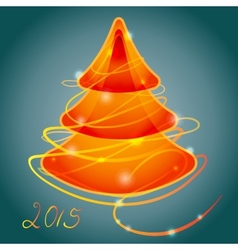 Orange luminous christmas tree vector