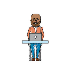 profesional businessman with laptop and corporate vector image