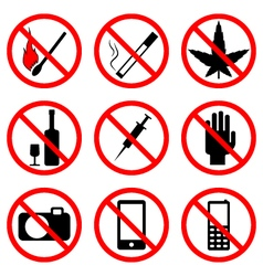 prohibiting signs vector image