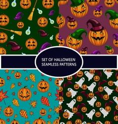 Set of seamless patterns with pumpkin halloween vector image