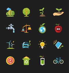 Sixteen flat eco icons vector