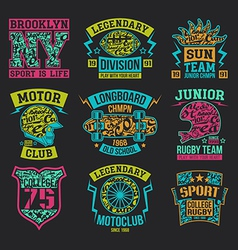 Sport emblems graphic design for t shirt vector