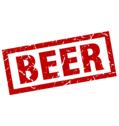 Square grunge red beer stamp vector