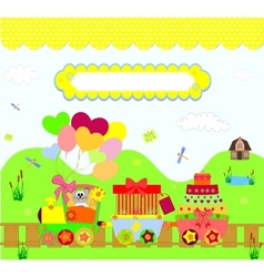 train party over dotted background vector image