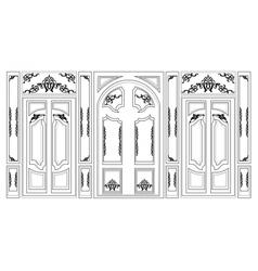 Wainscoting decorative damask frames vector