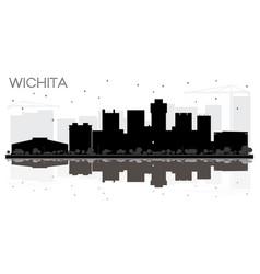 wichita kansas usa city skyline black and white vector image