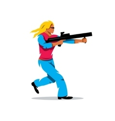 Woman with a gun cartoon vector