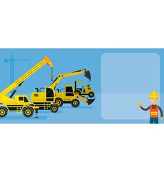 Worker with construction vehicles background vector