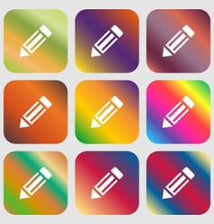 Pencil icon icon nine buttons with bright vector