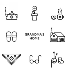 Grandmothers home set of flat line icons vector