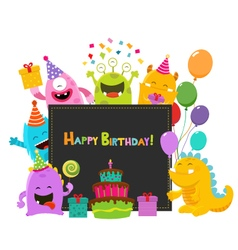 Cute Birthday Monsters Card vector image