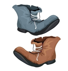 Old worn shoes brown and gray color vector